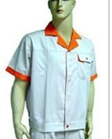深圳厂家定做加工涤棉男女式短袖,蓝色夏装翻领工作服