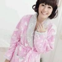 女士清纯提花粉红桃心珊瑚绒睡衣浴袍晨服家居服